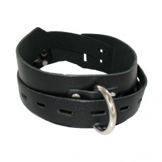 Locking Buckling Leather Collar, Black
