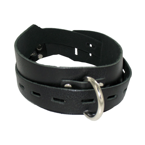 Locking Buckling Leather Collar, Black