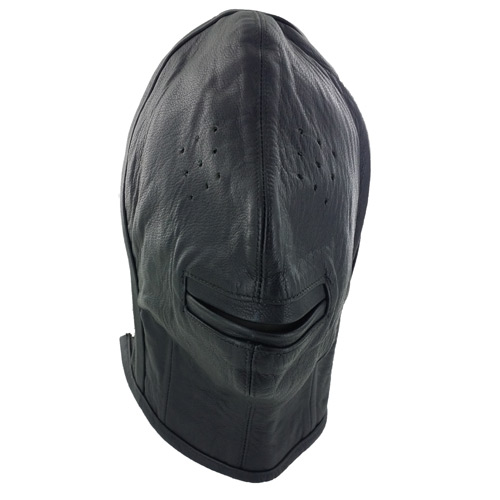 Leather Hood w Pinprick Eyes & Open Mouth
