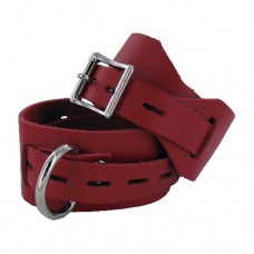 Locking Buckling Leather Wrist Cuffs, Red