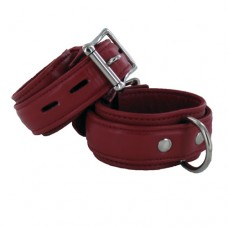 Premium Garment Leather Wrist Cuffs, Red
